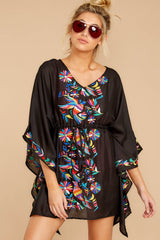 6 Flock To Paradise Black Embroidered Cover Up at reddressboutique.com