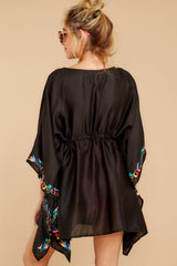7 Flock To Paradise Black Embroidered Cover Up at reddressboutique.com