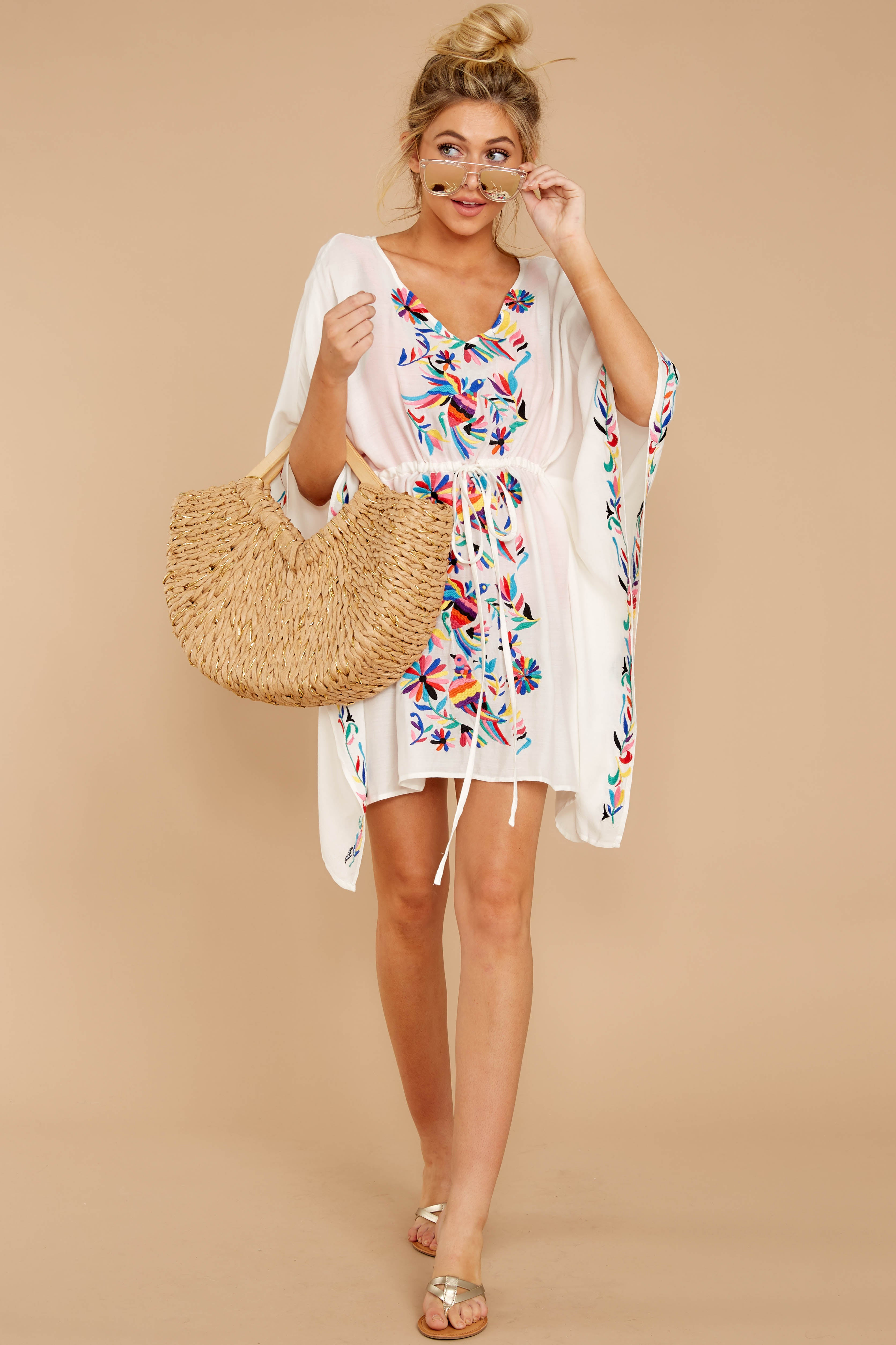1 Flock To Paradise White Embroidered Cover Up at reddressboutique.com