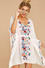 Flock To Paradise White Embroidered Cover Up