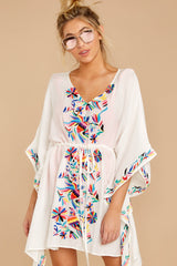 3 Flock To Paradise White Embroidered Cover Up at reddressboutique.com