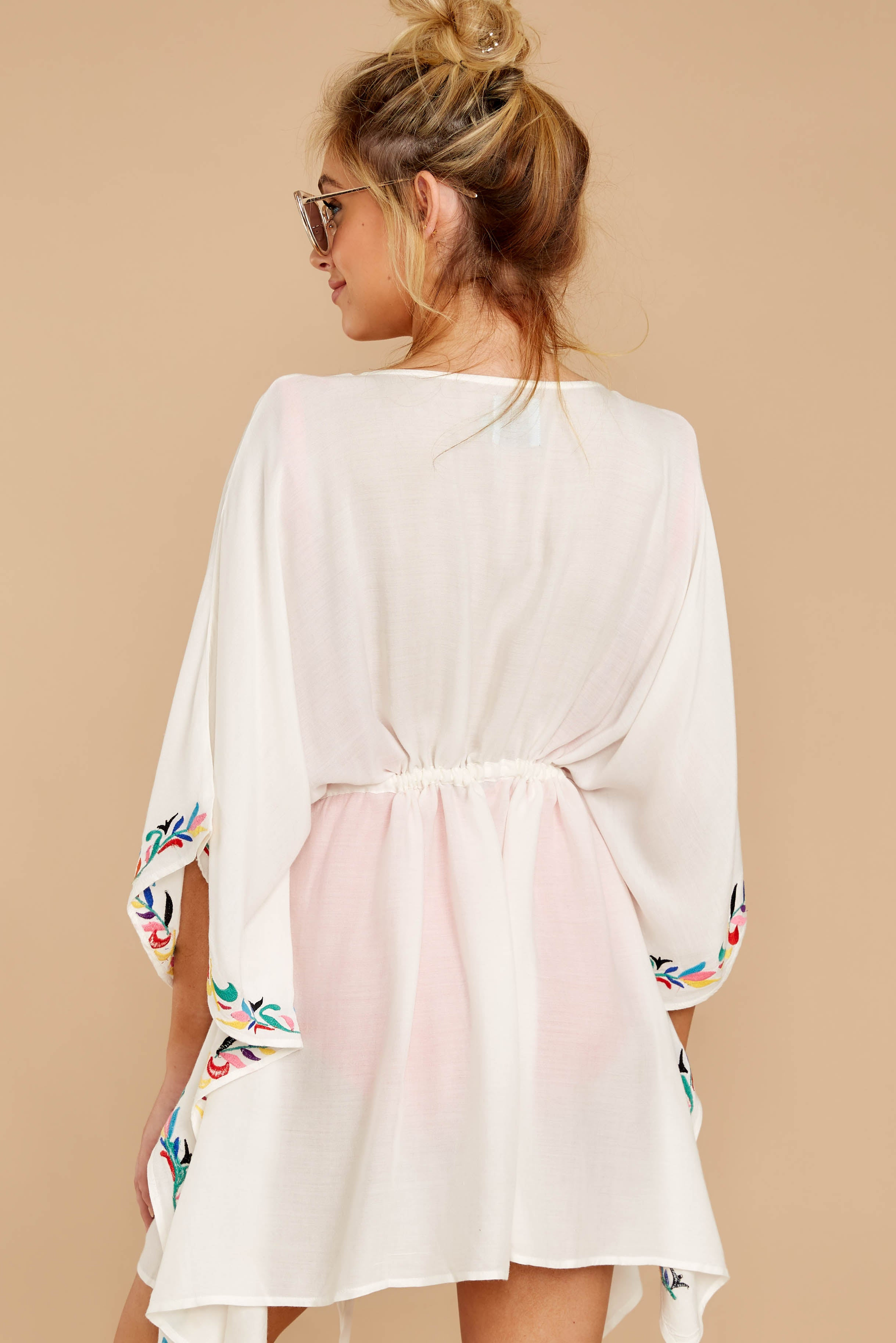 4 Flock To Paradise White Embroidered Cover Up at reddressboutique.com