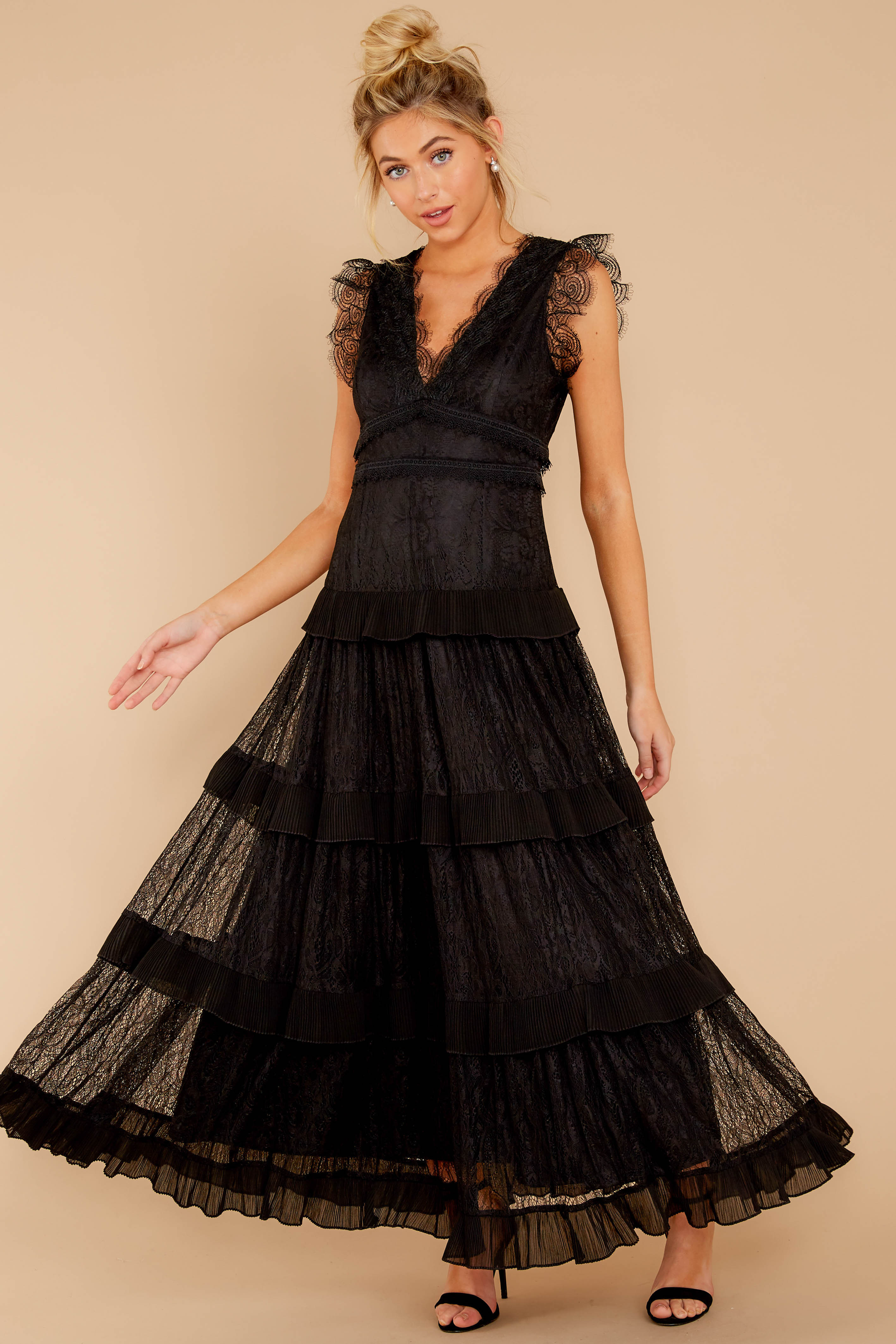 1 A Night To Forget Black Lace Maxi Dress at reddressboutique.com