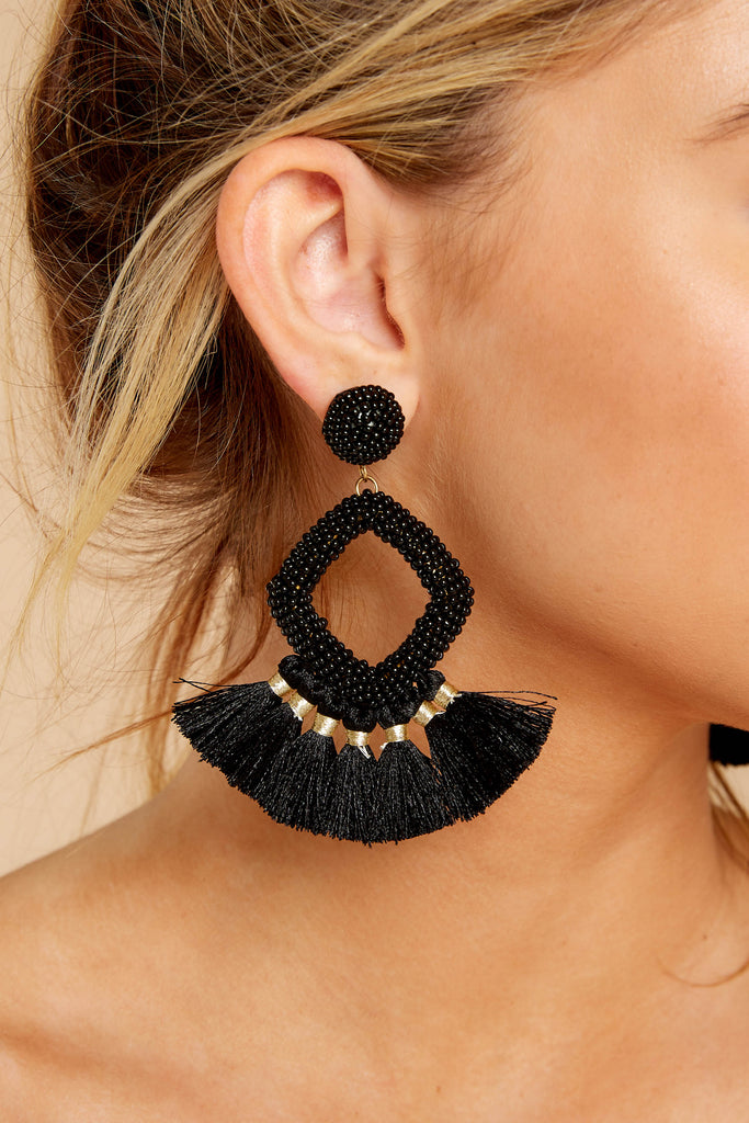 Halfway There Black Earrings
