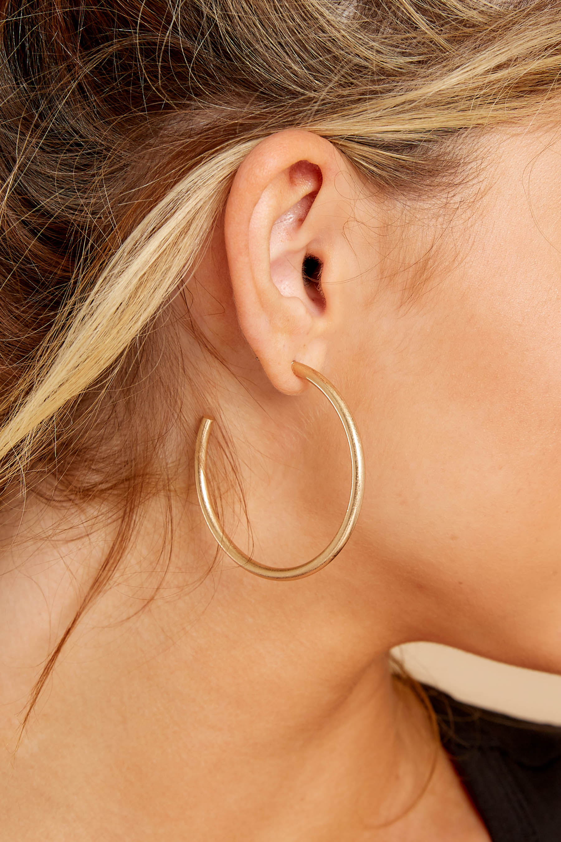 1 Classic Moments Gold Hoop Earrings at reddressboutique.com