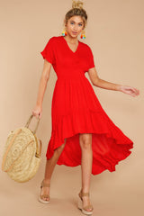 3 Up And At'Em Red High-Low Dress at reddressboutique.com
