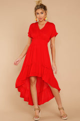 4 Up And At'Em Red High-Low Dress at reddressboutique.com