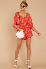 1 Make You Smile Tomato Orange Print Romper at reddressboutique.com