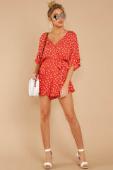 2 Make You Smile Tomato Orange Print Romper at reddressboutique.com