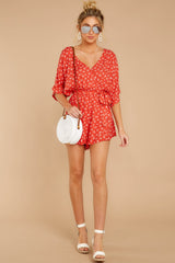 3 Make You Smile Tomato Orange Print Romper at reddressboutique.com