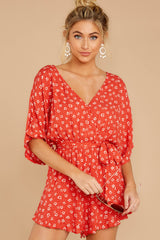 4 Make You Smile Tomato Orange Print Romper at reddressboutique.com