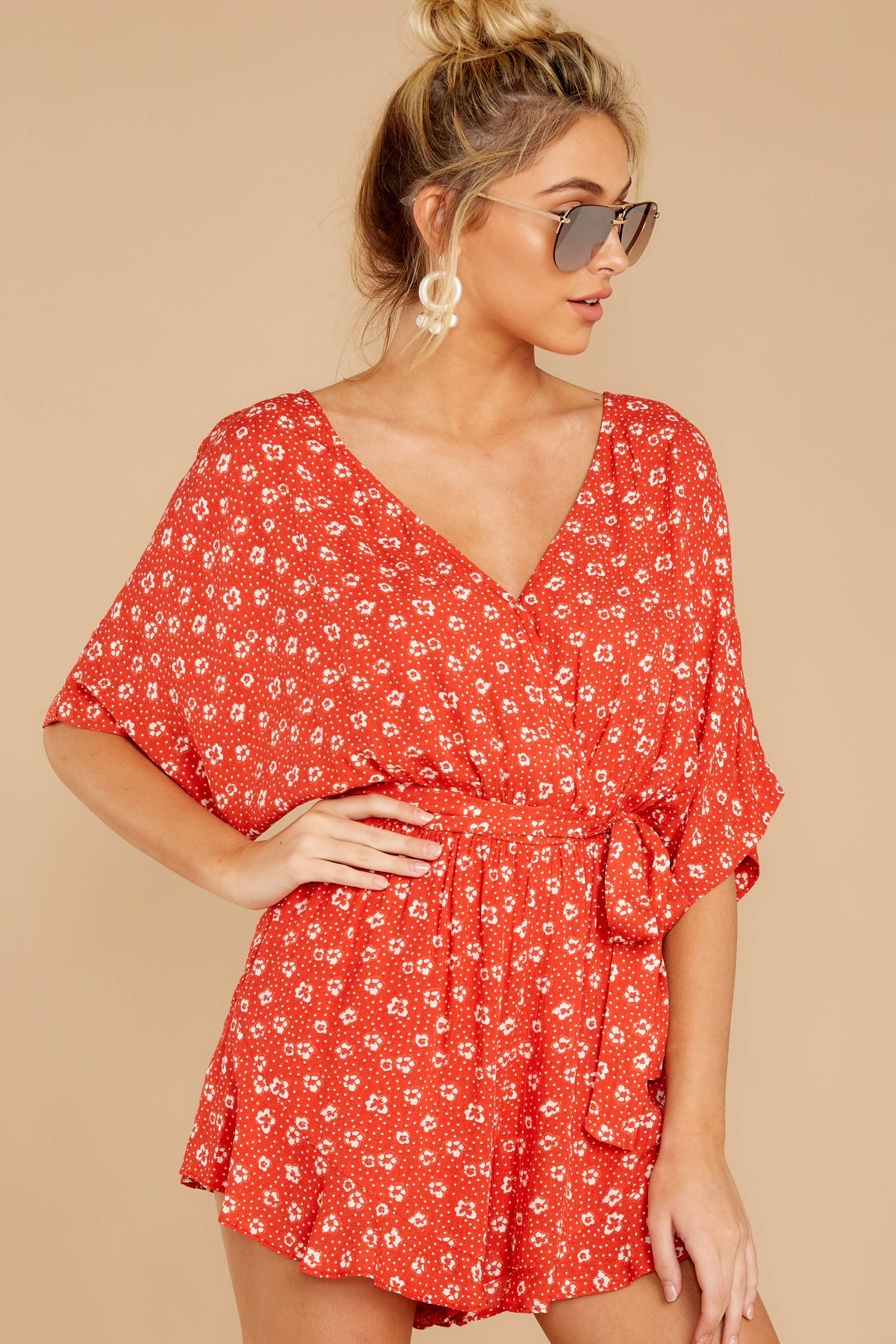 6 Make You Smile Tomato Orange Print Romper at reddressboutique.com