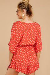 7 Make You Smile Tomato Orange Print Romper at reddressboutique.com