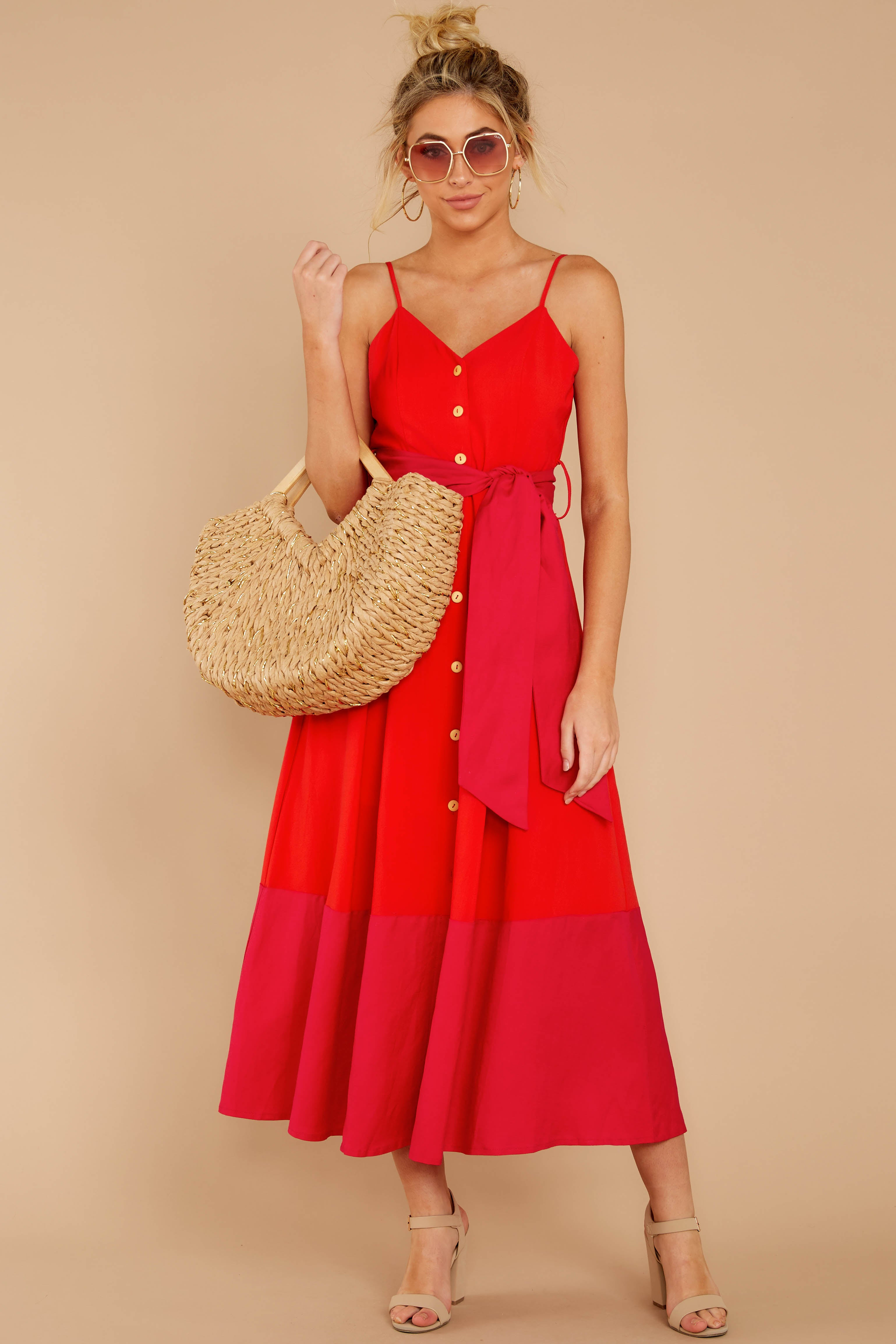 10 Forever Young Two Tone Red Midi Dress at reddressboutique.com