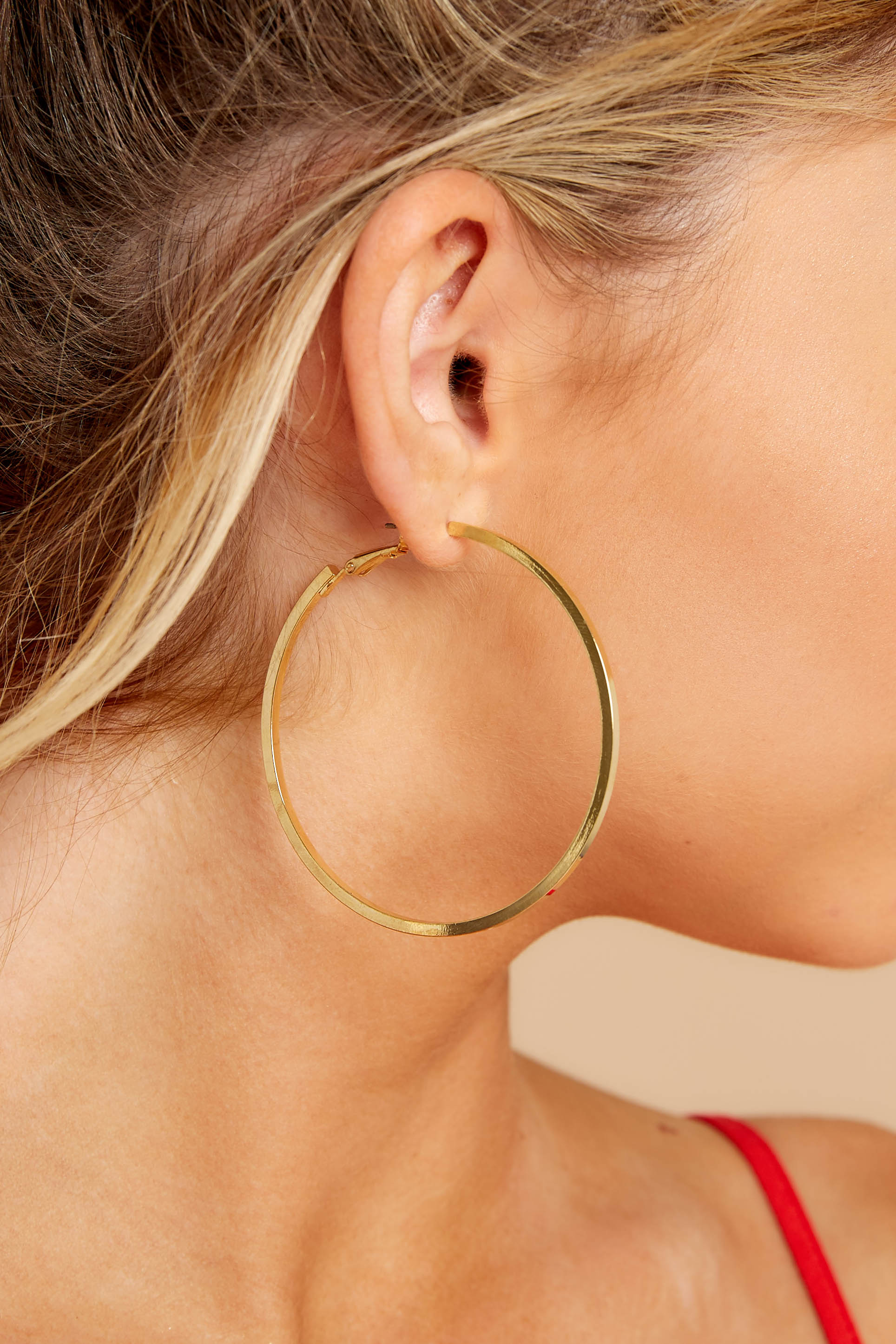 1 Around With You Gold Hoop Earrings at reddressboutique.com