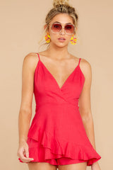 5 Sign Off Berry Pink Romper at reddressboutique.com
