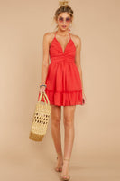V-neck Halter Plunging Neck Sweetheart Empire Waistline Gathered Shirred Pleated Dress With Ruffles