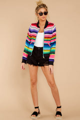 3 Feel The Vibe Pink Multi Stripe Jacket at reddressboutique.com