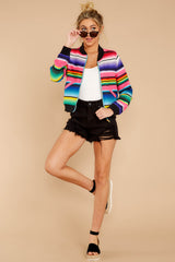2 Feel The Vibe Pink Multi Stripe Jacket at reddressboutique.com