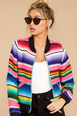 4 Feel The Vibe Pink Multi Stripe Jacket at reddressboutique.com