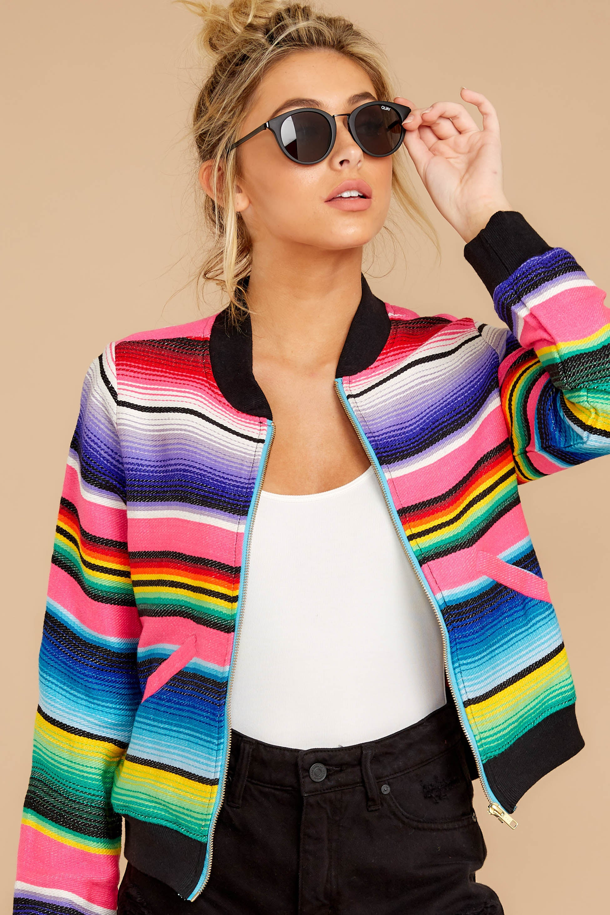 5 Feel The Vibe Pink Multi Stripe Jacket at reddressboutique.com