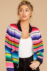 6 Feel The Vibe Pink Multi Stripe Jacket at reddressboutique.com