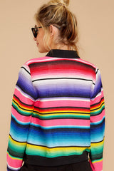 7 Feel The Vibe Pink Multi Stripe Jacket at reddressboutique.com