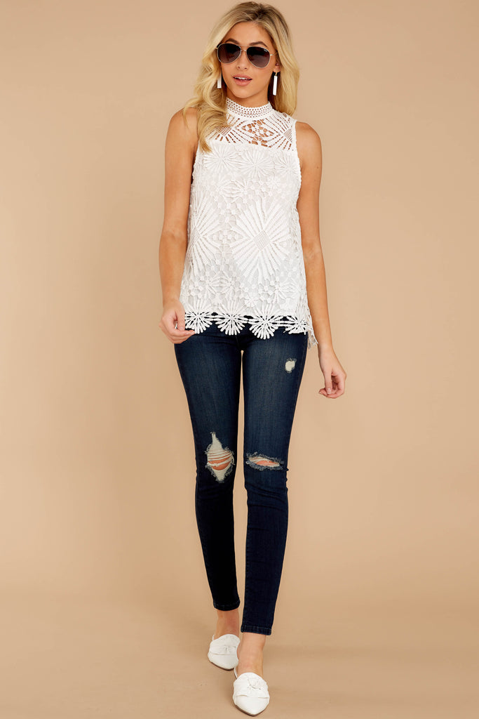 3 Timeless Ties White Polka Dot Top at reddressboutique.com