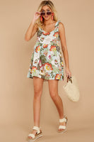 Round Neck Sleeveless Pocketed Gathered Tropical Print Dress