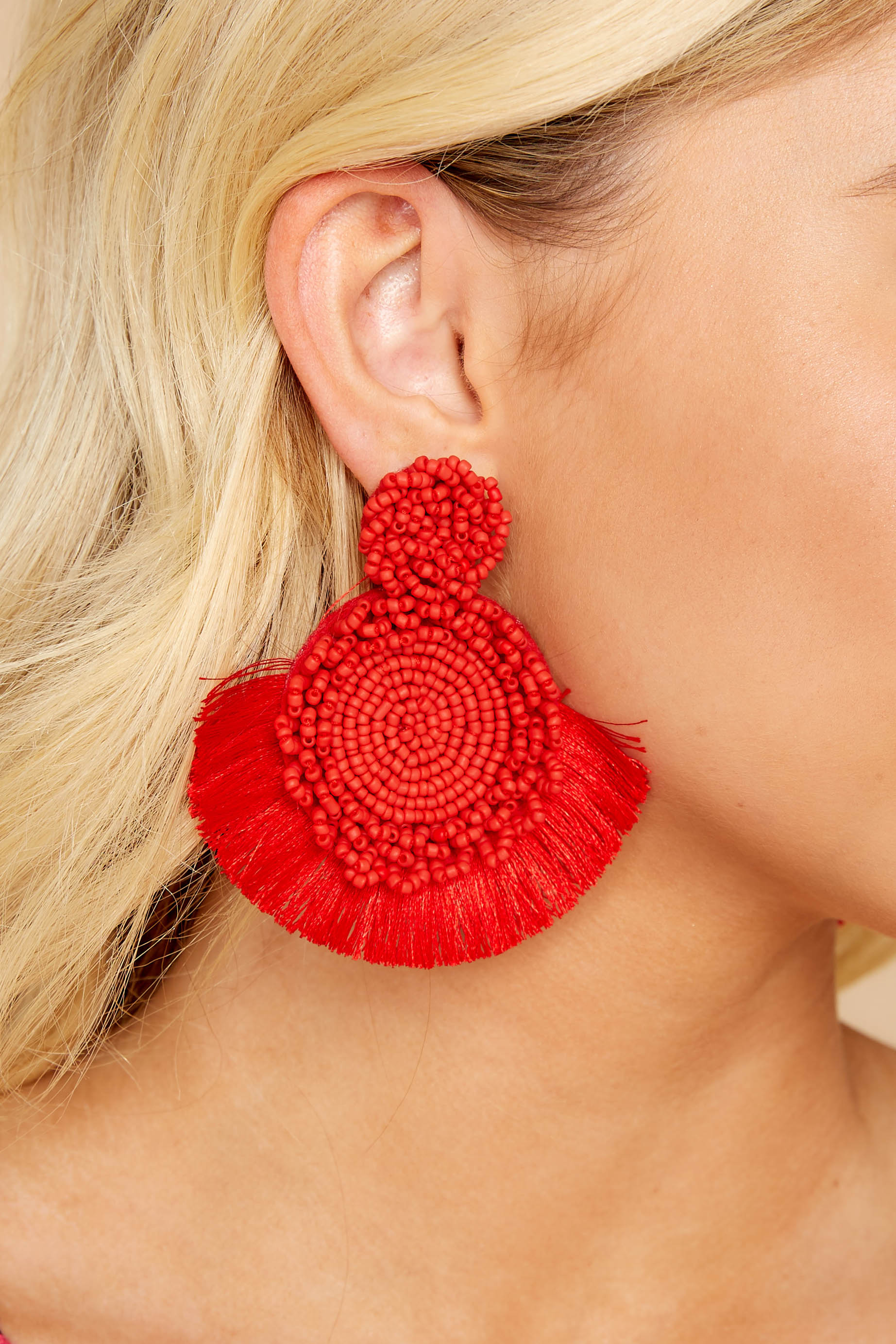 Charismatic Vibes Red Statement Earrings