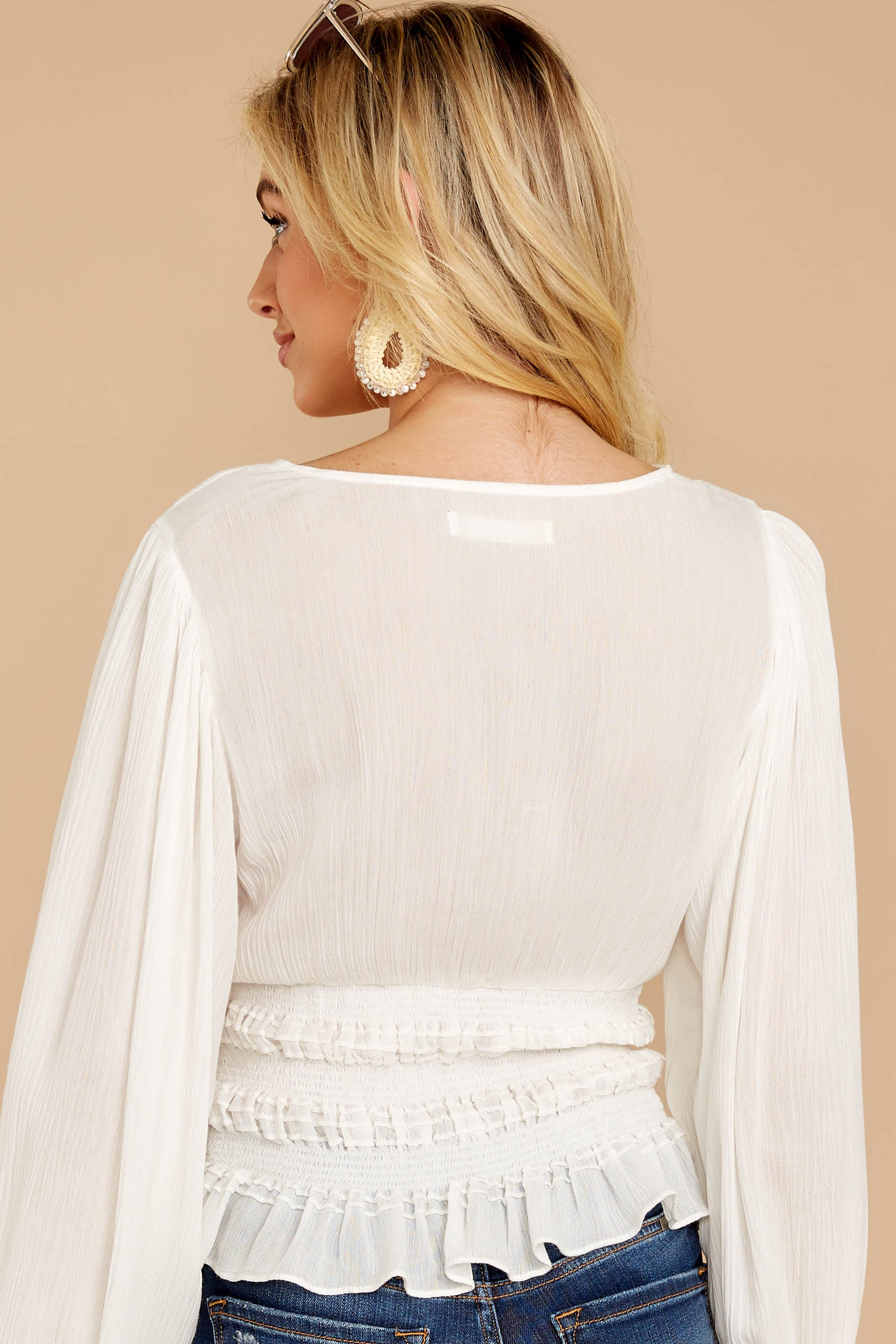 7 Elegant Perspective White Top at reddressboutique.com
