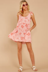 4 Out In The Sun Pink Floral Print Dress at reddress.com