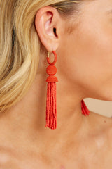 1 Impossible Imposter Fiesta Red Tassel Earrings at reddressboutique.com