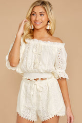 4 Forever After Ivory Eyelet Two Piece Set at reddressboutique.com