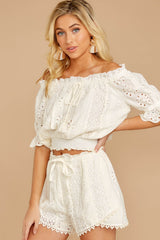5 Forever After Ivory Eyelet Two Piece Set at reddressboutique.com