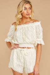 6 Forever After Ivory Eyelet Two Piece Set at reddressboutique.com