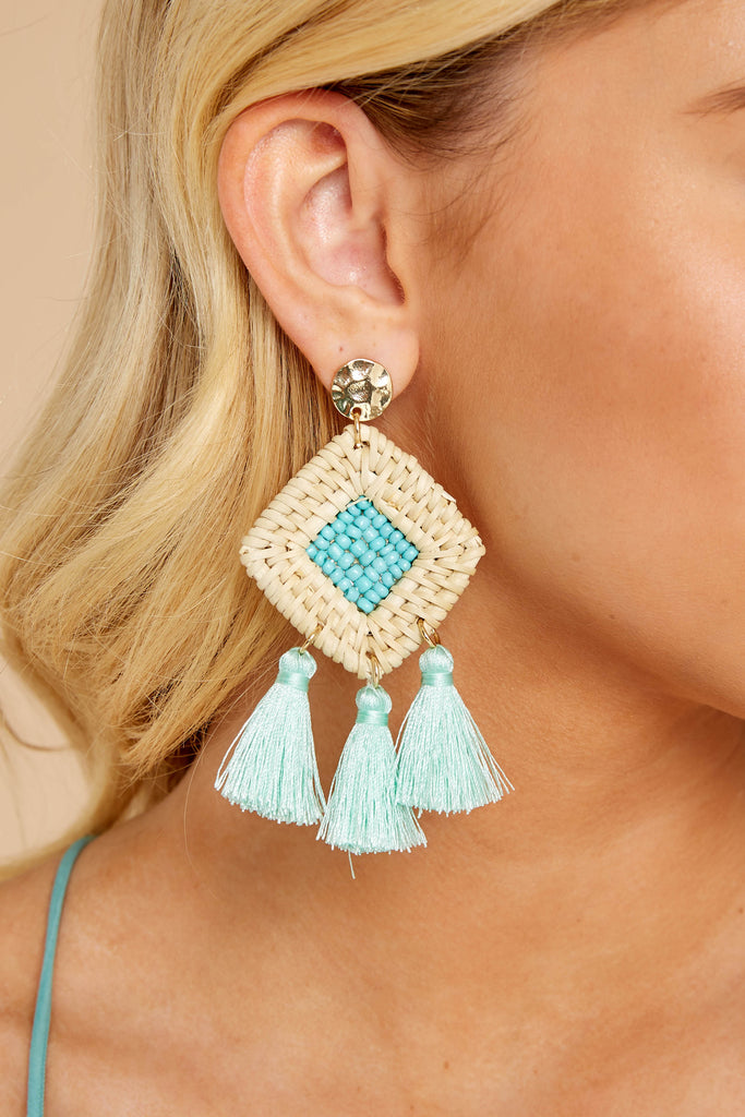 1 Excitement Doubled Spearmint Beaded Earrings at reddressboutique.com