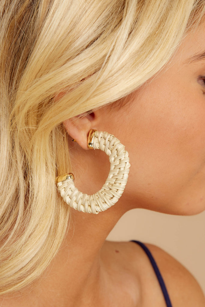 1 Give Them A Chance White And Gold Ivory Earrings at reddressboutique.com