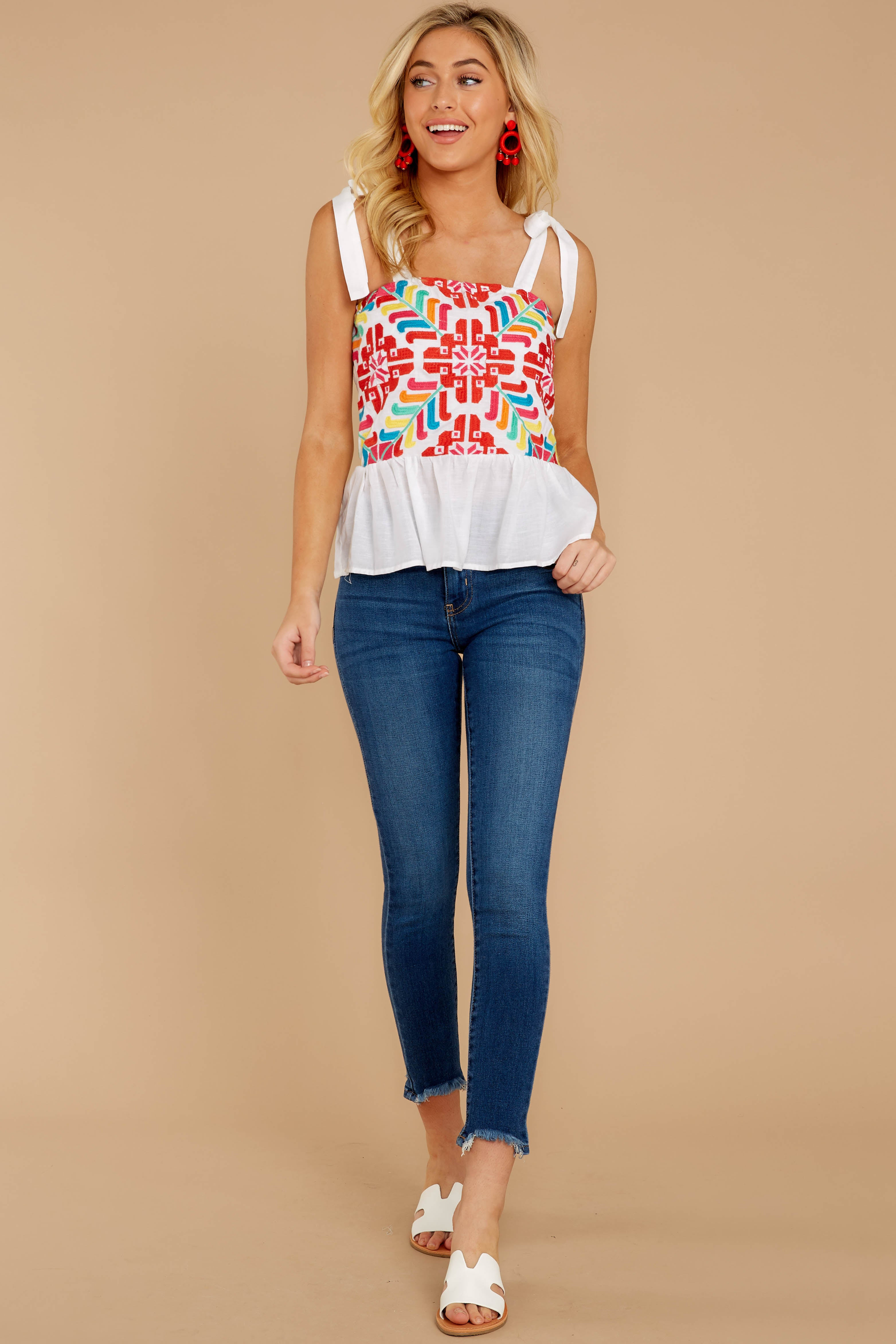 2 Hello Morocco White Embroidered Top at reddressboutique.com