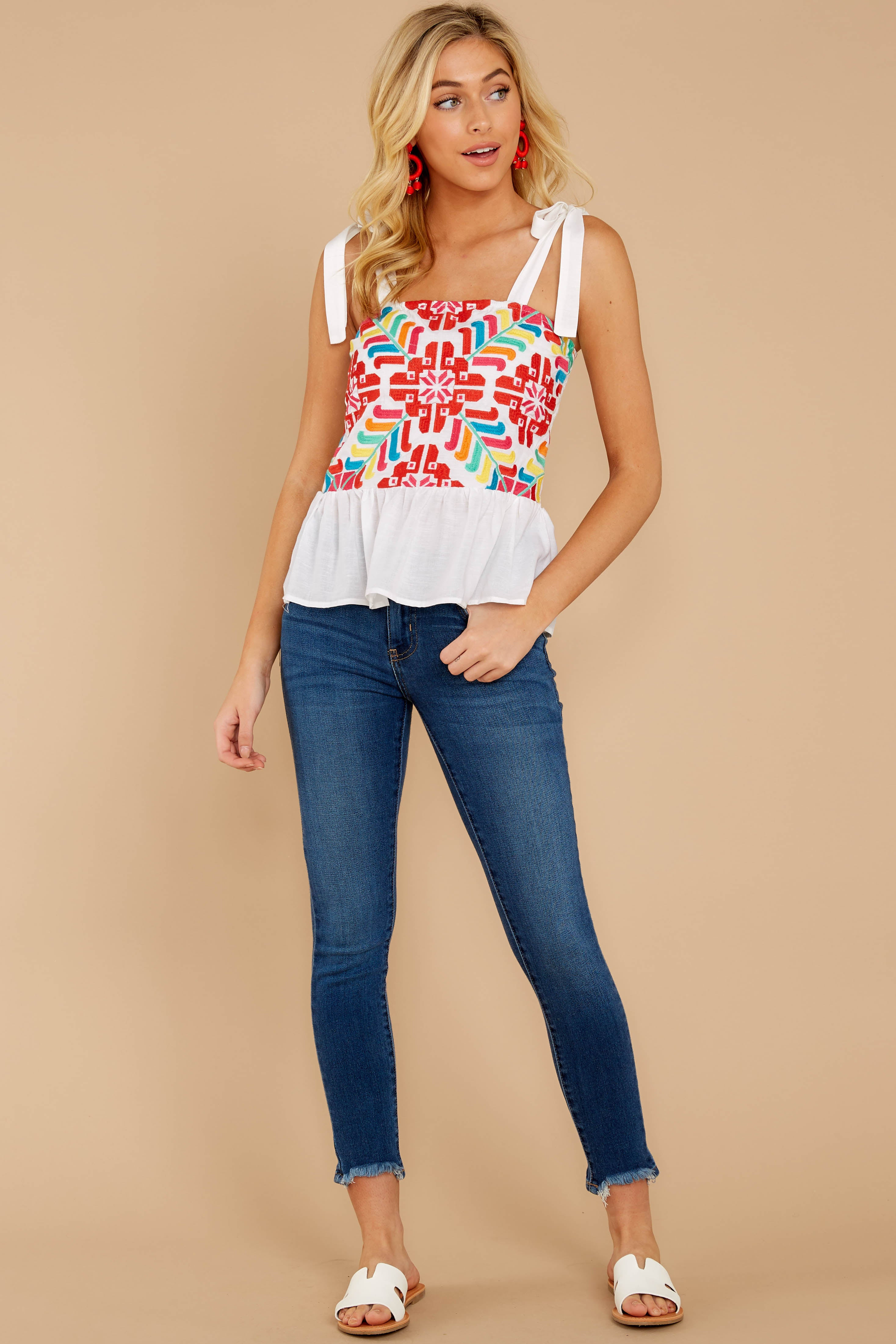 3 Hello Morocco White Embroidered Top at reddressboutique.com