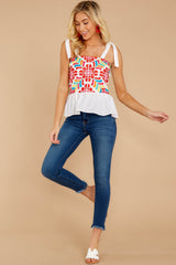 4 Hello Morocco White Embroidered Top at reddressboutique.com