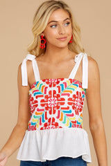 6 Hello Morocco White Embroidered Top at reddressboutique.com