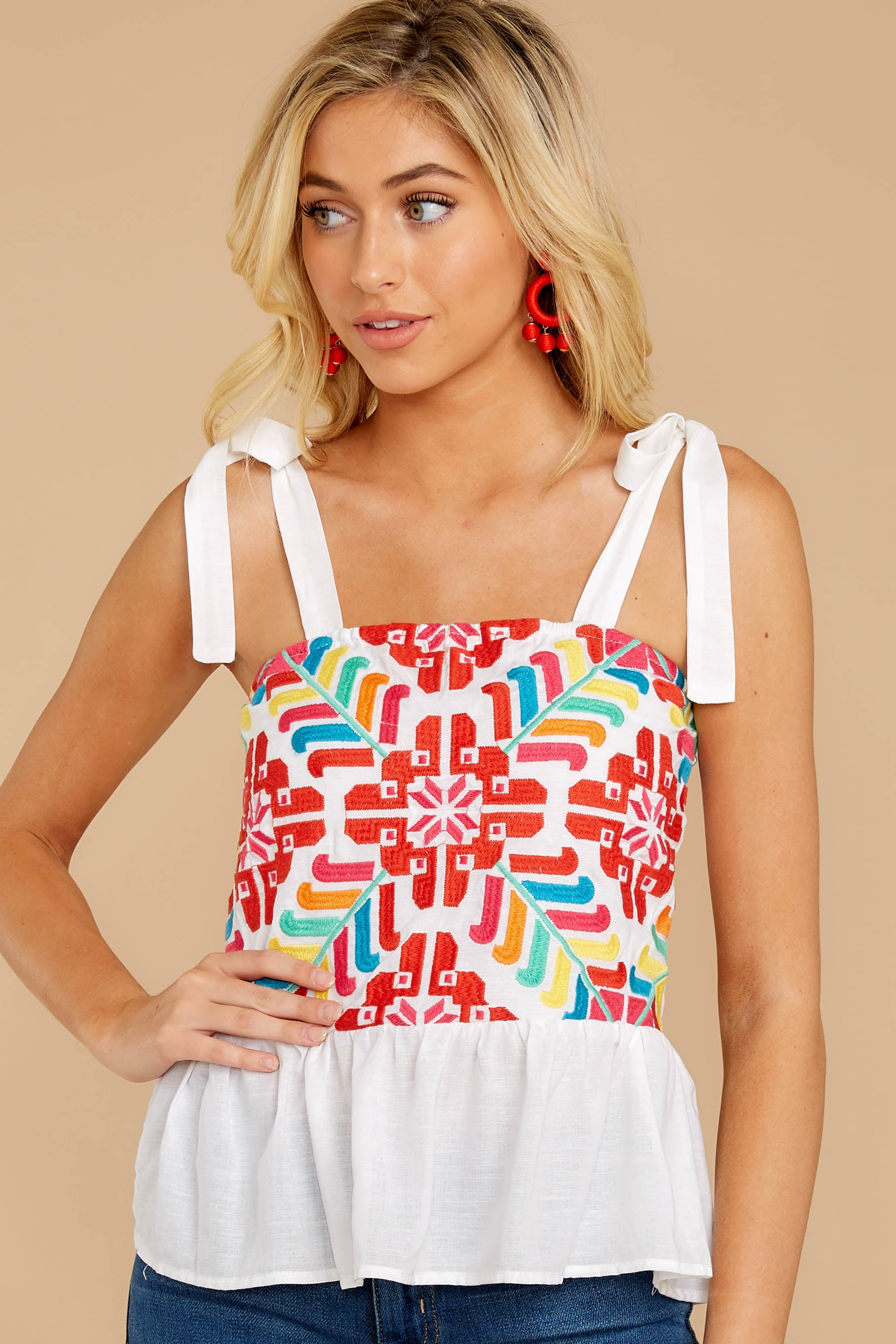 1 Hello Morocco White Embroidered Top at reddressboutique.com