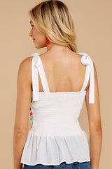 7 Hello Morocco White Embroidered Top at reddressboutique.com