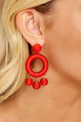 1 Around This Time Red Earrings at reddressboutique.com