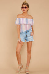 1 Dilly-Dally Lavender Multi Stripe Off The Shoulder Top at reddressboutique.com
