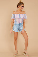 2 Dilly-Dally Lavender Multi Stripe Off The Shoulder Top at reddressboutique.com