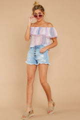 3 Dilly-Dally Lavender Multi Stripe Off The Shoulder Top at reddressboutique.com