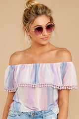 4 Dilly-Dally Lavender Multi Stripe Off The Shoulder Top at reddressboutique.com