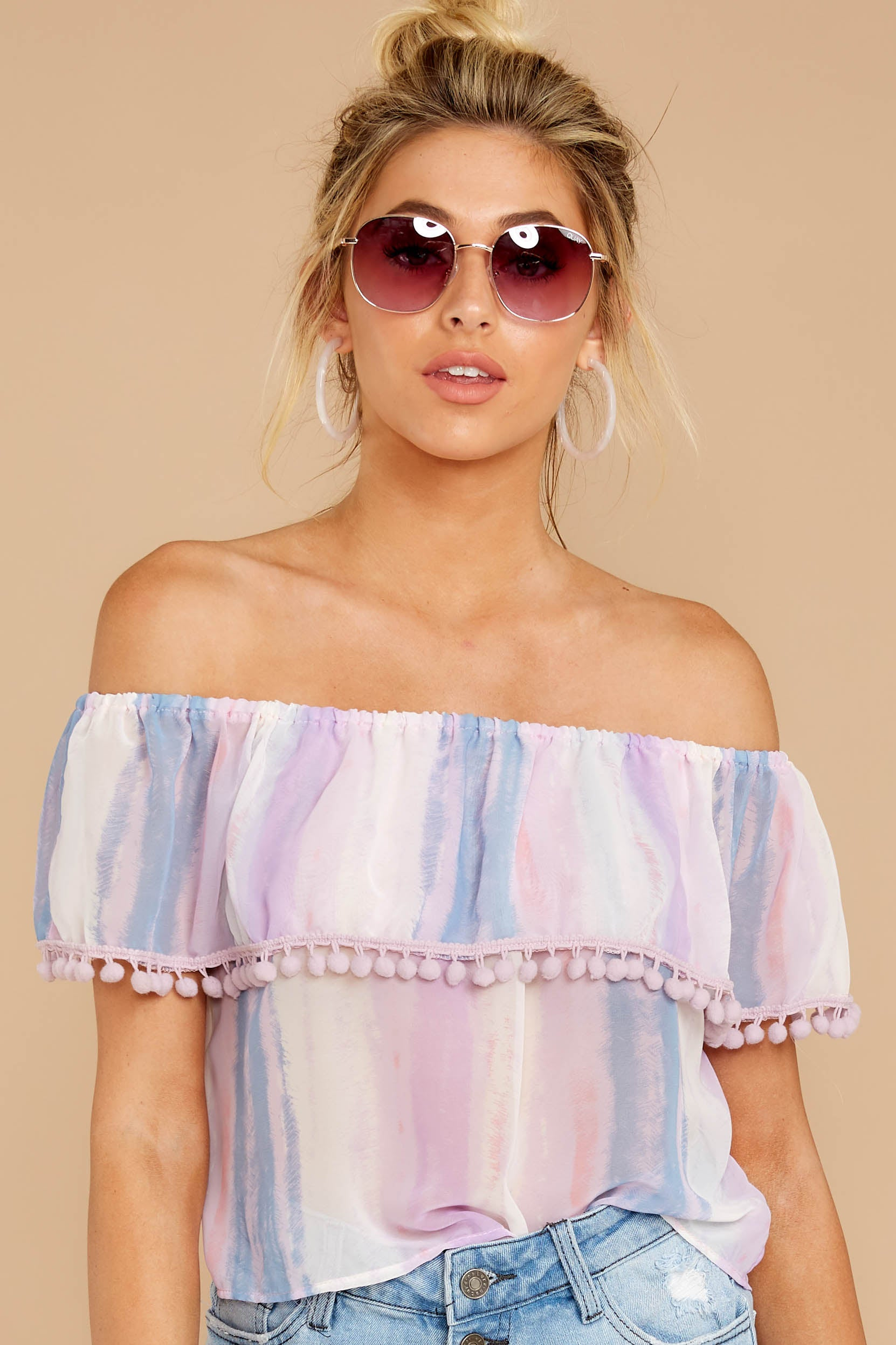 5 Dilly-Dally Lavender Multi Stripe Off The Shoulder Top at reddressboutique.com